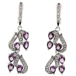 Sterling Silver.925 Amethyst And CZ Earrings